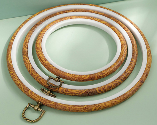 Round Faux Wood Plastic Hoops